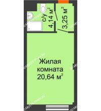 Студия 28,03 м², Апарт-Отель Гордеевка - планировка