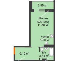 1 комнатная квартира 28,15 м² в ЖК Квартал №6 (Восточный), дом Литер 25 - планировка