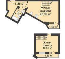 2 комнатная квартира 59,06 м², ЖК Юбилейный - планировка