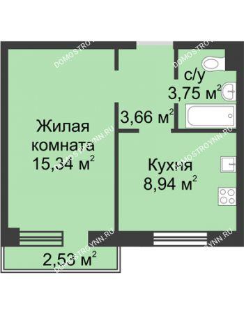 1 комнатная квартира 32,31 м² в ЖК Тридесятое, дом № 19