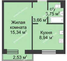 1 комнатная квартира 32,31 м² в ЖК Тридесятое, дом № 19 - планировка