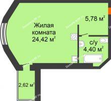 Студия 34,6 м² в ЖК На Мельникайте, дом ГП-17 - планировка