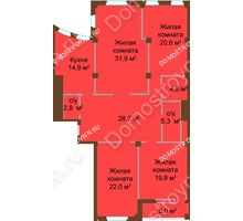 4 комнатная квартира 155,5 м², ЖК Бояр Палас - планировка