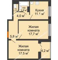 2 комнатная квартира 62,4 м² в ЖК Лазурный, дом 30 позиция - планировка