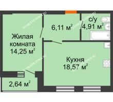 1 комнатная квартира 45,17 м², ЖК На Высоте - планировка