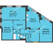 3 комнатная квартира 107,99 м² в ЖК Дом на Провиантской, дом № 12 - планировка
