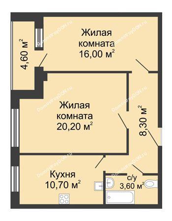 2 комнатная квартира 61,2 м² - ЖК Дом на Береговой
