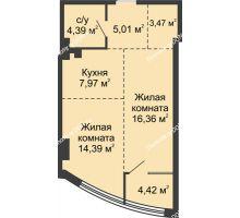 2 комнатная квартира 50,33 м², ЖК Белый Ангел - планировка