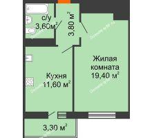 1 комнатная квартира 39,4 м² в ЖК Мелодия, дом Литер 1 - планировка