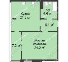 1 комнатная квартира 64,4 м² в ЖК Славянский квартал, дом № 5а, 7