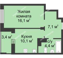 1 комнатная квартира 39,4 м² в ЖК Аквамарин, дом № 6 - планировка
