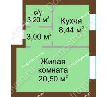 1 комнатная квартира 35,14 м² - ЖК Любимый
