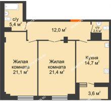 2 комнатная квартира 78,9 м² в ЖК Квартет, дом № 3 - планировка