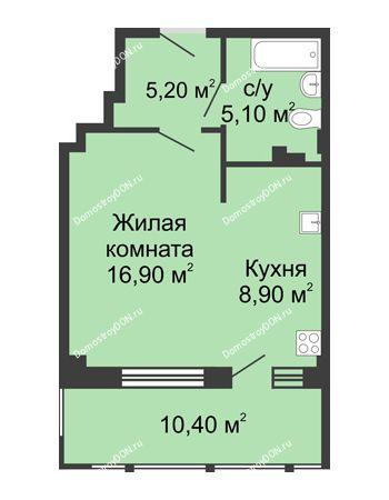 1 комнатная квартира 46,5 м² в ЖК Мега, дом № 2