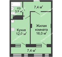 1 комнатная квартира 43 м² в ЖК Планетарий, дом № 7 - планировка