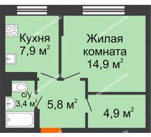 1 комнатная квартира 36,9 м² в ЖК Жюль Верн, дом № 1 корпус 2