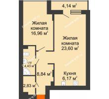 2 комнатная квартира 64,07 м² в ЖК Семья, дом № 2 - планировка