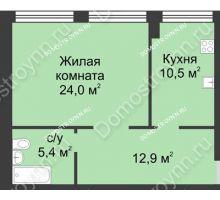 1 комнатная квартира 52,6 м² в ЖК Славянский квартал, дом № 188 - планировка