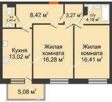 2 комнатная квартира 71,1 м² в ЖК Гвардейский 3.0, дом Секция 1 - планировка
