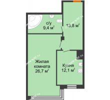 1 комнатная квартира 62 м², Клубный дом Green Вита (Грин Вита) - планировка