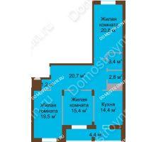 3 комнатная квартира 102,6 м² в ЖК Монолит, дом № 89, корп. 1, 2 - планировка