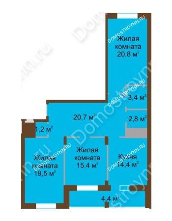 3 комнатная квартира 102,6 м² в ЖК Монолит, дом № 89, корп. 1, 2