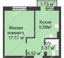 1 комнатная квартира 35,57 м² в ЖК Солнечный, дом д. 161 А/1