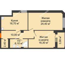 2 комнатная квартира 79,8 м², Жилой Дом пр. Чехова - планировка