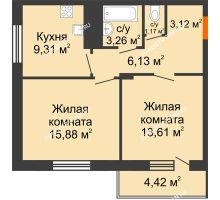 2 комнатная квартира 54,69 м² в ЖК Циолковский, дом № 5 - планировка