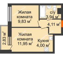 2 комнатная квартира 35,24 м² - ЖК Каскад на Путейской