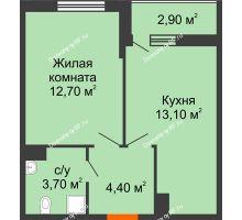 1 комнатная квартира 35,4 м² в ЖК Самолет, дом Литер 4 - планировка