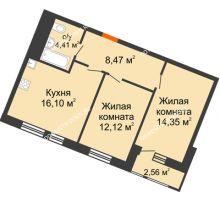 2 комнатная квартира 58,01 м² в ЖК Книги, дом № 1 - планировка