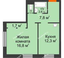 1 комнатная квартира 42,2 м² в ЖК Лесной массив, дом Строение 9 - планировка