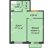 1 комнатная квартира 42,43 м² в ЖК Лайм, дом № 1