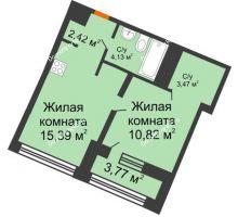 1 комнатная квартира 38,21 м² в ЖК Речной порт, дом № 6 - планировка