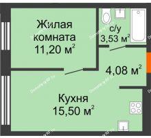 1 комнатная квартира 34,31 м² в ЖК Мозаика Парк, дом ГП-1 - планировка
