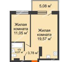 2 комнатная квартира 43,55 м² в ЖК Гвардейский 3.0, дом Секция 1 - планировка