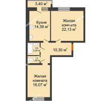 2 комнатная квартира 69,76 м² в ЖК Браер Парк Центр, дом № 5 - планировка