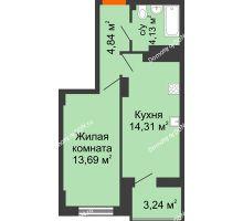 1 комнатная квартира 38,59 м² в ЖК Аврора, дом № 3 - планировка