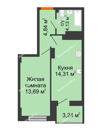 1 комнатная квартира 38,59 м² в ЖК Аврора, дом № 3