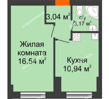 1 комнатная квартира 33,9 м² - ЖК Янтарный