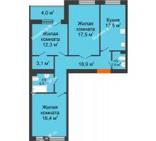 3 комнатная квартира 96,8 м² в ЖК Славутич, дом ГП-1 - планировка