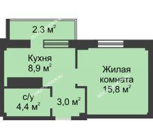 1 комнатная квартира 34,4 м² в ЖК На Победной, дом № 3