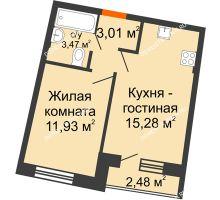 1 комнатная квартира 34,56 м² в ЖК Ватсон, дом № 3 - планировка