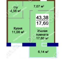 1 комнатная квартира 43,38 м², Жилой дом Приокский - планировка