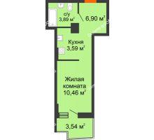 Студия 25,6 м² в ЖК Сердце Ростова 2, дом Литер 8 - планировка