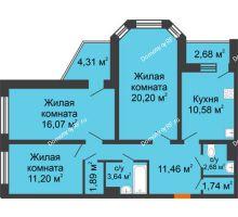 3 комнатная квартира 82,96 м², Жилой дом: №23 в мкр. Победа - планировка