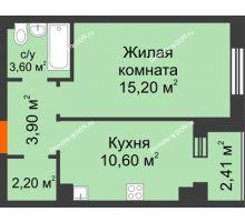 1 комнатная квартира 36,5 м² в Микрорайон Прибрежный, дом № 8 - планировка