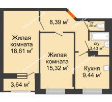 2 комнатная квартира 58,27 м², Жилой дом: ул. Сухопутная - планировка
