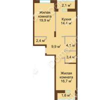 2 комнатная квартира 74,5 м² в ЖК Монолит, дом № 89, корп. 1, 2 - планировка